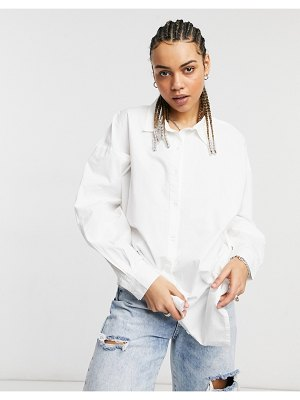 Native Youth the perfect oversized work shirt in poplin-white