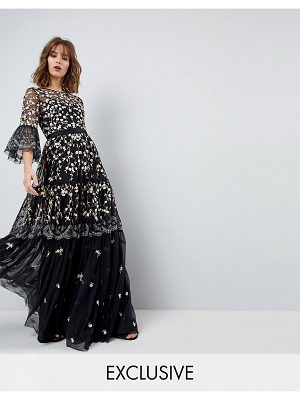 Needle & Thread Allover Embroidered and Embellished Maxi Gown with Fluted Sleeves