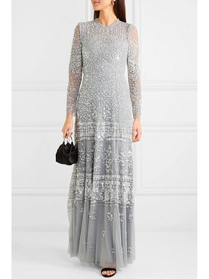 Needle & Thread aurora ruffled sequin-embellished tulle gown