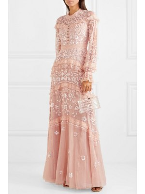 Needle & Thread ava lace-trimmed embellished tulle gown