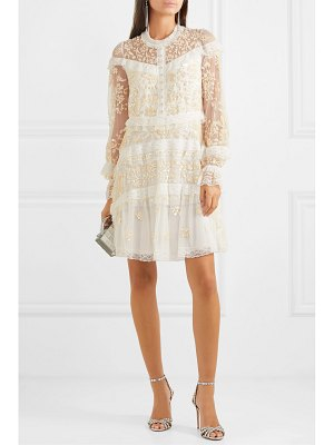 Needle & Thread ava lace-trimmed embellished tulle mini dress