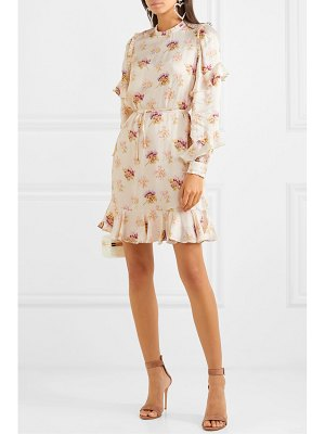 Needle & Thread bessie belted ruffled floral-print satin mini dress