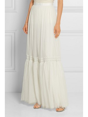 Needle & Thread bridal lace-trimmed tulle maxi skirt