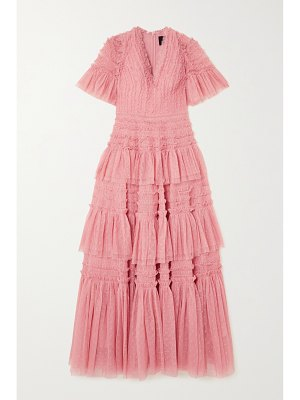 Needle & Thread clarabelle ruffled tiered point d'esprit gown