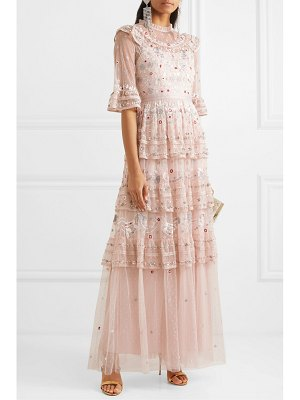 Needle & Thread eden tiered embellished tulle gown
