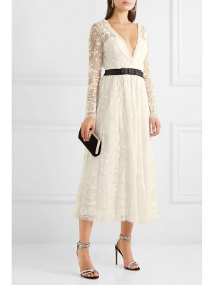 Needle & Thread eleanor wrap-effect satin-trimmed lace midi dress