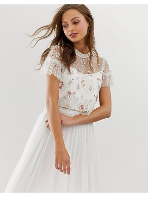 Needle & Thread embellished top with flutter sleeve in ivory
