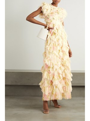 Needle & Thread genevieve rose ruffled floral-print tulle gown