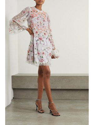 Needle & Thread harlequin rose sequin-embellished tulle mini dress