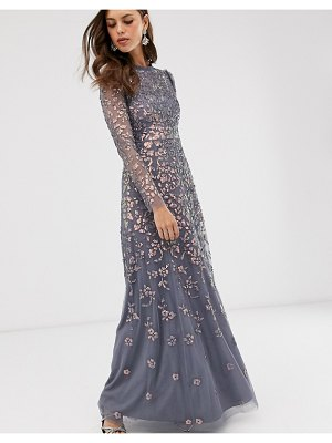 Needle & Thread high neck sequin maxi dress in charcoal