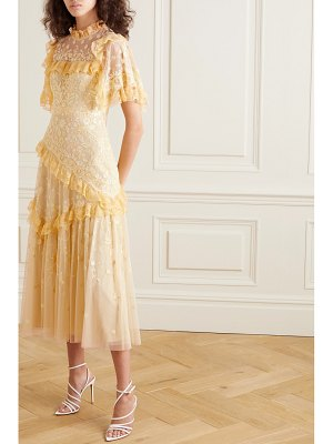 Needle & Thread jasmine hemsley earth garden lace-trimmed embroidered tulle midi dress