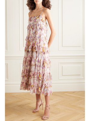 Needle & Thread jasmine hemsley harmony ruffled floral-print tulle midi dress