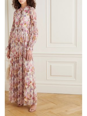Needle & Thread jasmine hemsley harmony sequin-embellished floral-print tulle gown