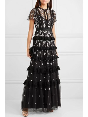 Needle & Thread lace-trimmed ruffled embroidered tulle gown