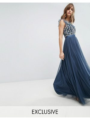 Needle & Thread Maxi Dress with Embroidery and Tulle Skirt