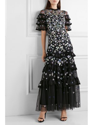 Needle & Thread meadow ruffled crochet-trimmed sequined tulle gown