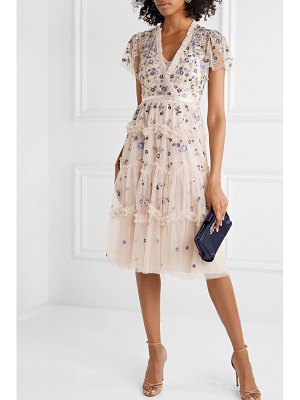 Needle & Thread prairie flora ruffled embellished embroidered tulle dress