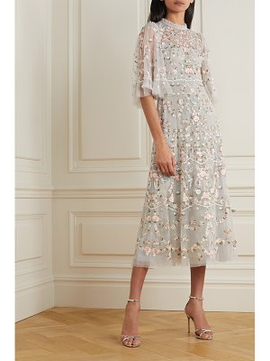 Needle & Thread regency garden ballerina ruffled embroidered tulle midi dress