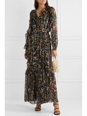 Needle & Thread ruffled floral-print metallic fil coupé chiffon wrap gown