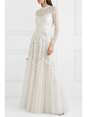 Needle & Thread ruffled sequin-embellished tulle gown