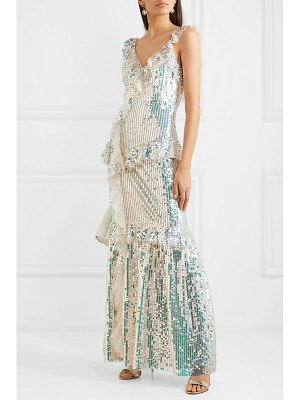 Needle & Thread scarlett ruffled sequined tulle gown