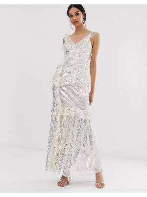 Needle & Thread sequin maxi dress in silver