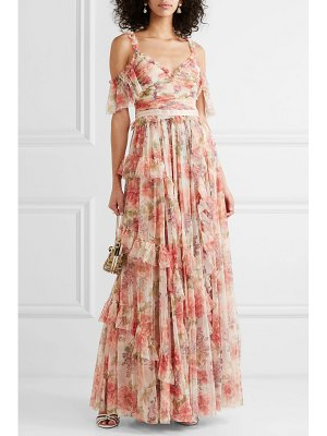 Needle & Thread titania cold-shoulder ruffled floral-print tulle gown