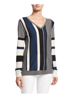 Neiman Marcus Cashmere Collection Block Stripe V-Neck Long-Sleeve Cashmere Sweater