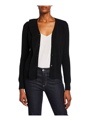 Neiman Marcus Cashmere Collection Cashmere Button-Front Ruffle Cardigan
