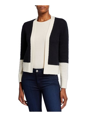 Neiman Marcus Cashmere Collection Cashmere Colorblock Long-Sleeve Cardigan