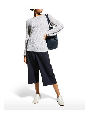 Neiman Marcus Cashmere Collection Cashmere High-Low Crewneck Cable Sweater