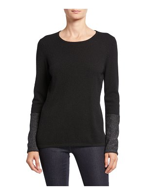 Neiman Marcus Cashmere Collection Cashmere Long-Sleeve Crewneck Sweater with Sequin Cuffs