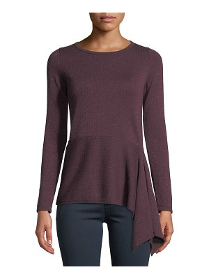 Neiman Marcus Cashmere Collection Cashmere Metallic Asymmetric Peplum Sweater