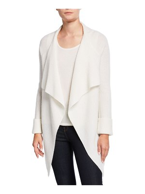 Neiman Marcus Cashmere Collection Cashmere Ribbed Drape-Front Cardigan