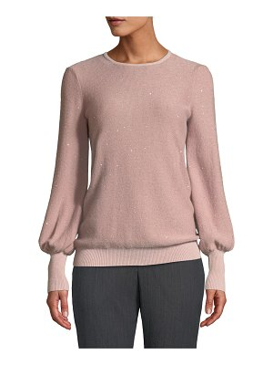 Neiman Marcus Cashmere Collection Cashmere Sequined Balloon-Sleeve Sweater