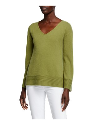 Neiman Marcus Cashmere Collection Cashmere V-Neck Pullover Sweater w/ Ribbed Cuffs & Hem