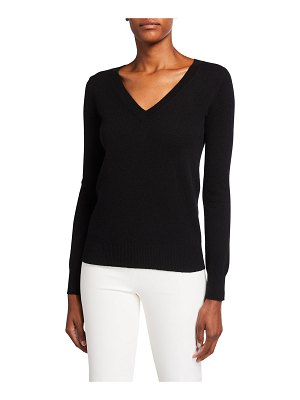 Neiman Marcus Cashmere Collection Classic V-Neck Cashmere Sweater
