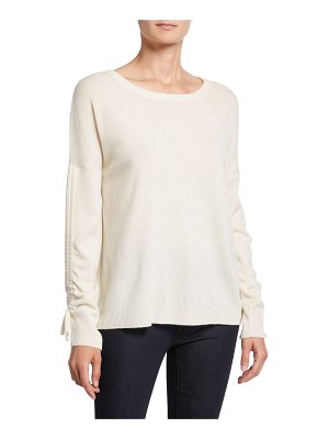 Neiman Marcus Cashmere Collection Crewneck Ruched Long-Sleeve Cashmere Sweater