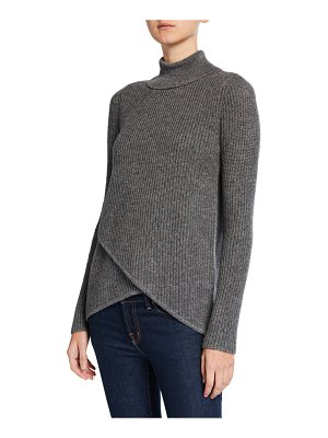 Neiman Marcus Cashmere Collection Crossover Ribbed Turtleneck Cashmere Sweater