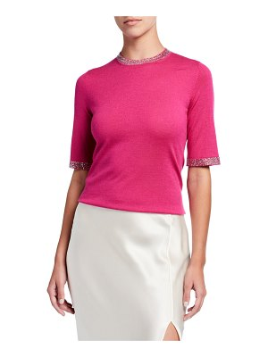 Neiman Marcus Cashmere Collection Crystal Trim Elbow-Sleeve Crewneck Super Fine Sweater