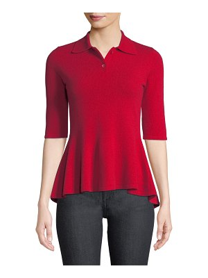 Neiman Marcus Cashmere Collection Elbow-Sleeve Cashmere Peplum Polo Shirt