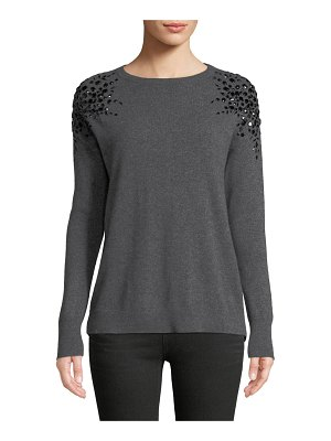 Neiman Marcus Cashmere Collection Embellished Long-Sleeve Cashmere Sweater
