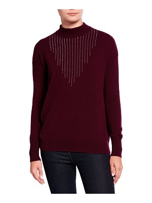 Neiman Marcus Cashmere Collection Embellished Mock-Neck Cashmere Sweater