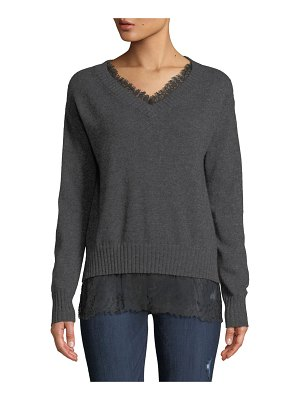 Neiman Marcus Cashmere Collection Lace-Trim Cashmere V-Neck Pullover Sweater