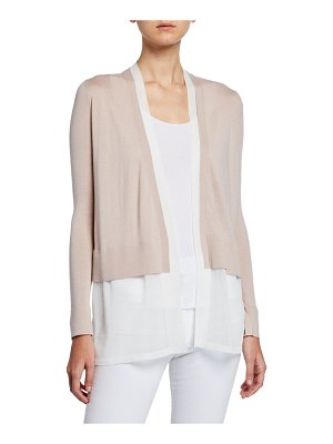 Neiman Marcus Cashmere Collection Layered Open-Front Cashmere Cardigan