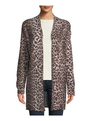 Neiman Marcus Cashmere Collection Leopard-Print Cashmere Duster Cardigan