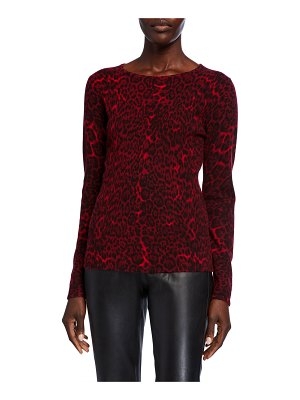 Neiman Marcus Cashmere Collection Leopard-Print Crewneck Cashmere Sweater