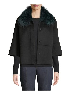 Neiman Marcus Cashmere Collection Luxury Double Faced Woven Cashmere Kimono Jacket w/ Fox Fur Collar