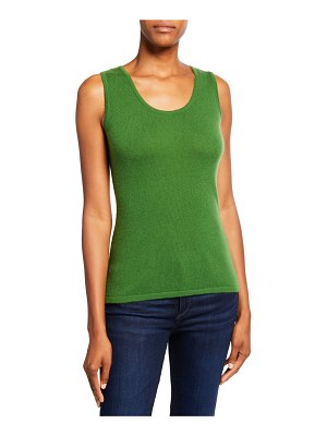 Neiman Marcus Cashmere Collection Modern Scoop-Neck Cashmere Tank