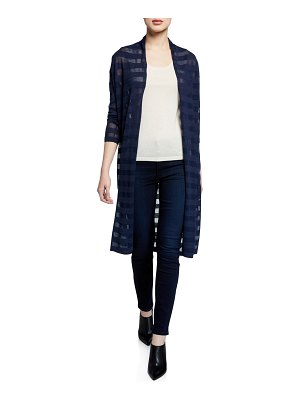 Neiman Marcus Cashmere Collection Open-Front Mesh Stripe Cashmere-Blend Duster Cardigan